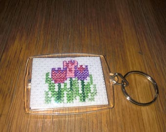 Flowers Emblem Handmade Cross-Stitch Keyring