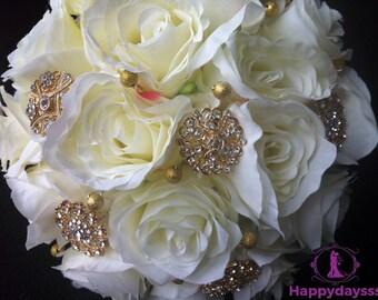Silk brooch bouquet, 14