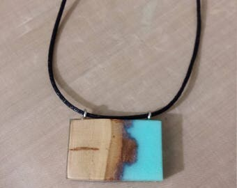 Rectangle necklace with wood and resin blue ocean