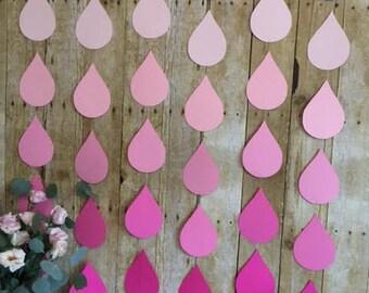Pink Raindrops/Baby Shower/Baby Girl shower/Raindrop banner