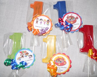 12 Disney Little Einsteins 1st Birthday Party Favor Gourmet Chocolate lollipops with custom tags