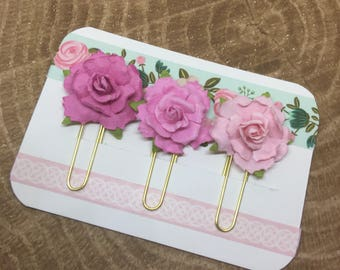 Paper Flowers: Ombre pink roses | Planner Accessories | Bible Journaling | Paper Clip | Bible Bookmark