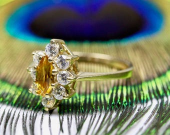 9K 9Ct 375 Solid Yellow Gold Marquise Citrine & White Sapphires Ring Size N - 6 1/2