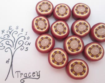 Brown polymer clay beads, handmade beads