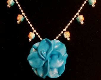Blue Flower - Polymer Clay Necklace