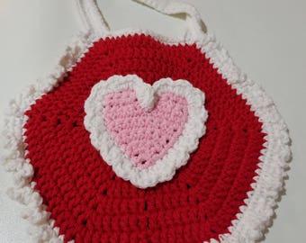 Crochet Heart Baby Bib