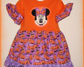 Girls Toddler Minnie Halloween October Pumpkin Shirt Tunic Dress - 3T fits 2/3 - Trick Or Treat - Fall Autumn