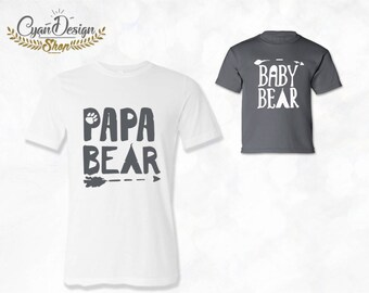 Gift For Dad, Papa Bear & Baby Bear T-shirt Set of 2, Daddy crew-Neck T-shirt, Baby T-shirts/ Baby shower gift