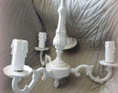 Lustre 3 branches shabby chic bronze patiné