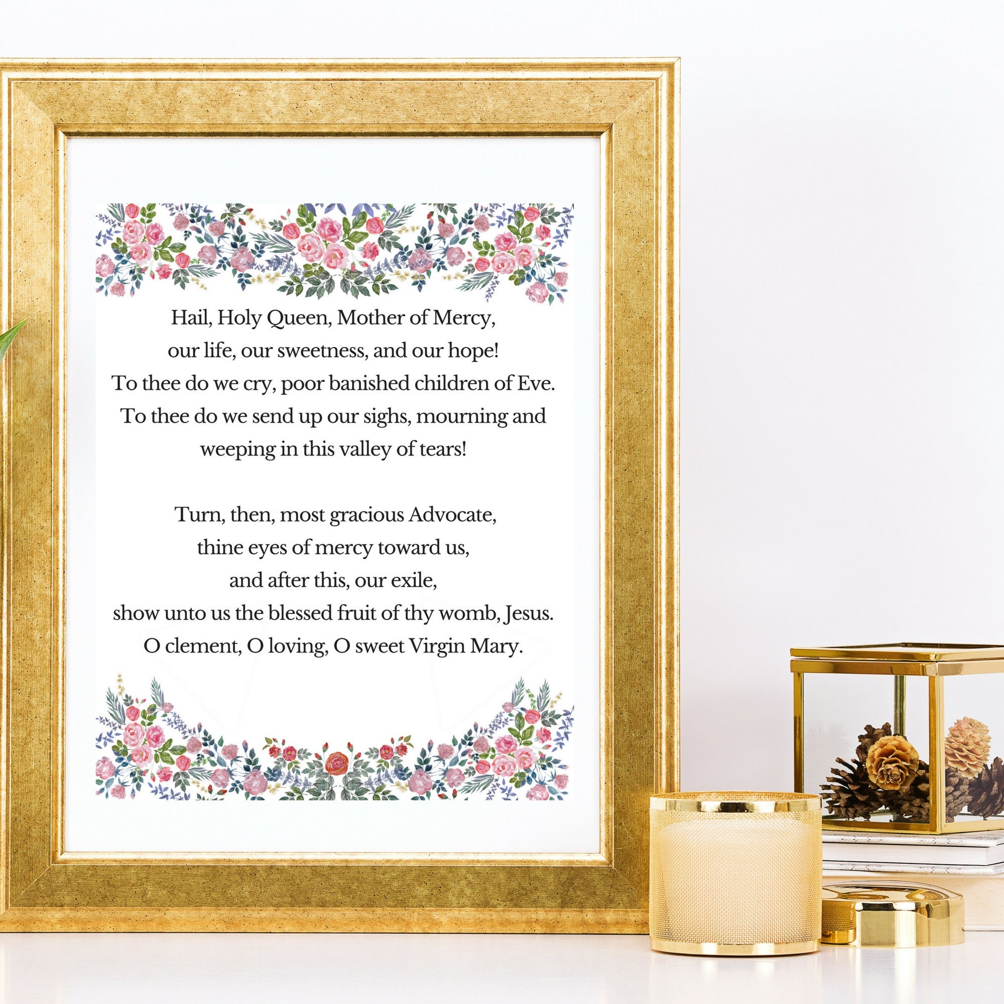 hail holy queen prayer printable catholic quotes mary art
