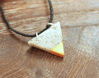 Granite and Gold Triangle Necklace Charm