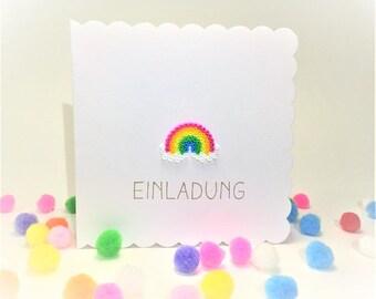 Kids birthday invitation Rainbow