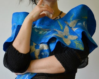 Blue women wool long ruffle felted scarf Women felt accessory Blue merino wool shawl  Wool merino felted clothing Fashion  long wool collar