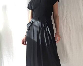 Vintage 1940s handmade black silk midi dress