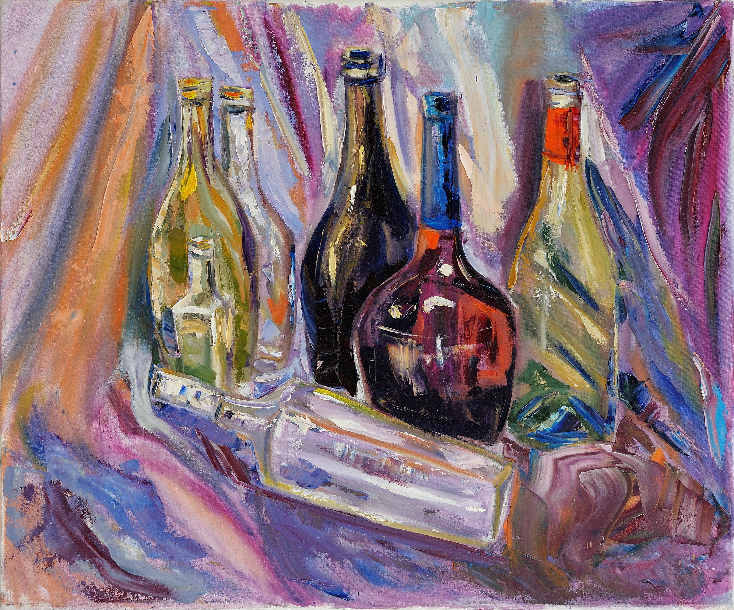 Still life oil painting glass bottle paint wall art decor good for How to paint glass with oil paint