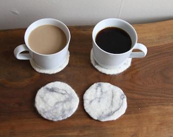 100% Wool Marble Felt Coasters - 2 pack