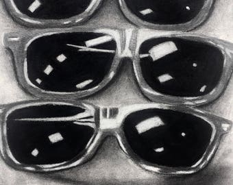 """Big Brother is Watching/charcoal and graphite on watercolor paper 18""""x22""""/charcoal still life/sunglasses/fashion/drawing/original/graphite"""