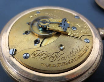 Antique 1902 Waltham Bartlett Railroad Pocket Watch 17J Openface #1883