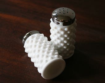 Hobnail Milk Glass Salt and Pepper Shakers by Fenton / Vintage Hobnail Milk Glass / Salt & Pepper Shakers