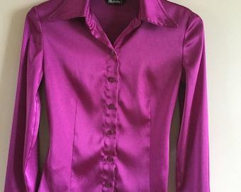 Vintage 90's Purple Blouse Elegant Office Style Size M