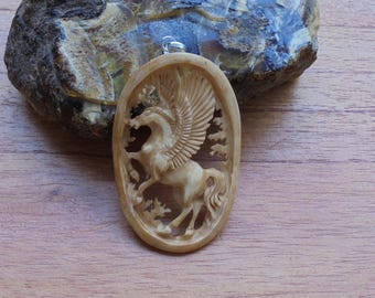 Hand Carved Pegasus Bone Pendant in Brown/Antique Color Bali Bone Carving P55