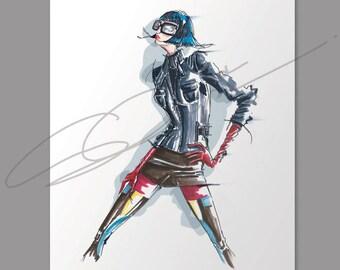 Fashion illustration print, Born 2B wild