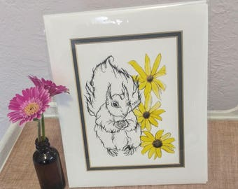 "Squirrel with Daisies 8""x10"" Giclee Print"