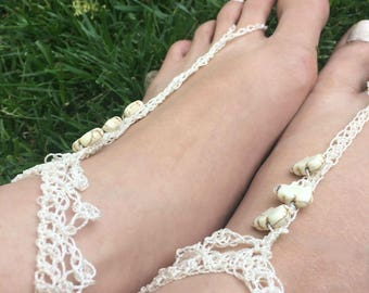 Barefoot Sandals, FREE SHIPPING, Elephant Barefoot Sandals, Hippie Shoes, Crochet Barefoot Sandals