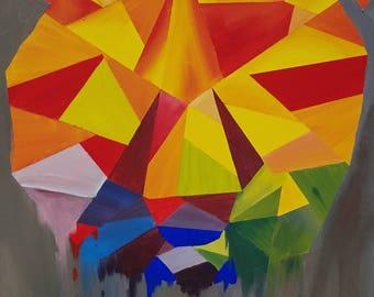 Geometric Bear - Acrylic on canvas 24x24