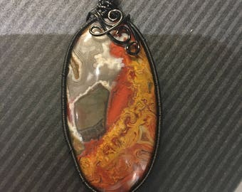 Red Crazy Lace Agate Wire Wrapped Pendant