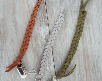 Bold braided Leather Pacifier Clips