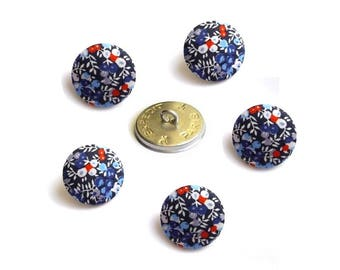 """5 buttons covered with Liberty Blue """"Wilmslow"""" size in OPTION, buttons are made in France"""