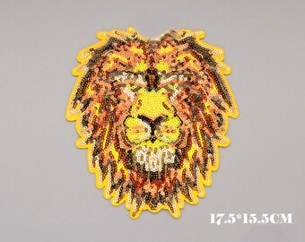 Sequin  Lion King Patch, Lion Embroidery Design,Lion Embroidery Applique,Lion Embroidery  Pattern,Embellishment,Lion Embroidered Patch,