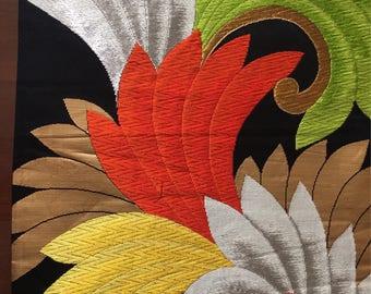 Elegant Silk Japanese Kimono / Vintage Fikuro  Obi, Art Wall decor,Table runner. Wall tapestry