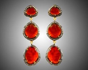Diamond Earrings with Hessonite