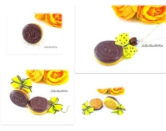 Finery completes necklace, ring and earring biscuits chocolate-brown softness Pims