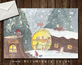 Whimsical Bugs Christmas Greetings Card - Christmas Log