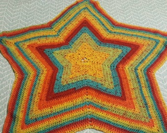 Crochet star-shaped afghan, rainbow coloured, blanket, throw, gift