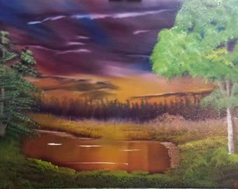 Golden Sunset  Oil on canvas