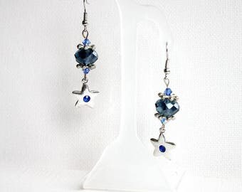 Silver and blue stars earrings
