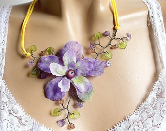 Flower necklace purple yellow satin cord copper wire