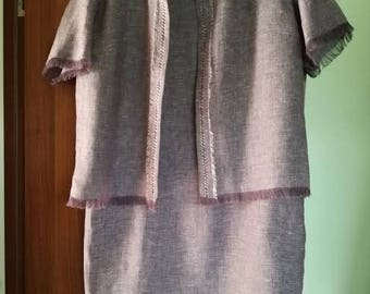 Handmade linen dress with linen jacket