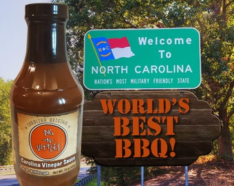 Original Carolina Style Vinegar BBQ Sauce Nice and Tangy with a touch of heat. Traditional Pulled Pork Sauce and Marinade Great on Anything