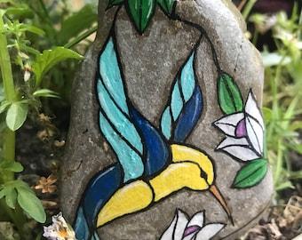 Hand-Painted Hummingbird Stone - Humming Bird Painting