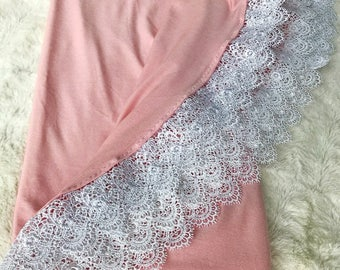 Dusty Pink Jersey Cotton Lace Swaddle Blanket, baby blanket, lace blanket