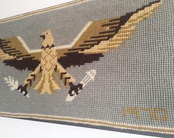 1970 framed American Eagle Gros Point Needlework.