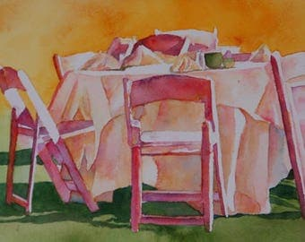 After The Party, Original Watercolor Painting