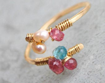Gold filled Tourmaline ring pink Apatite and Pearl baroque-size 7 8 8.5-9.5 - ring designer Toulouse - Christin Piedra