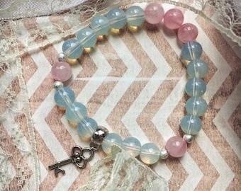 Pink quartz &opal bracelet