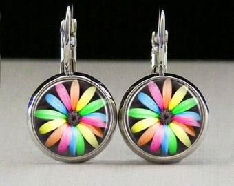 Flower Glass bezel earrings rainbow flower earrings flower jewelry botanist gift custom photo earrings photo jewelry glass jewelry